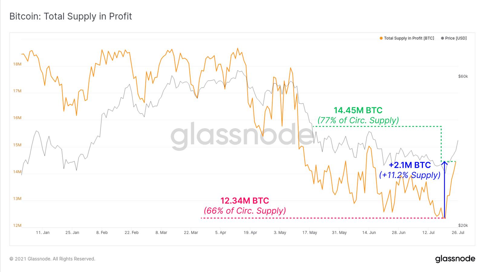 Prozentsatz der Gesamtumlaufmenge an BTC im Profit