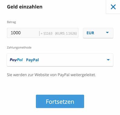 Geld einzahlen per PayPal bei eToro Quelle: etoro.com