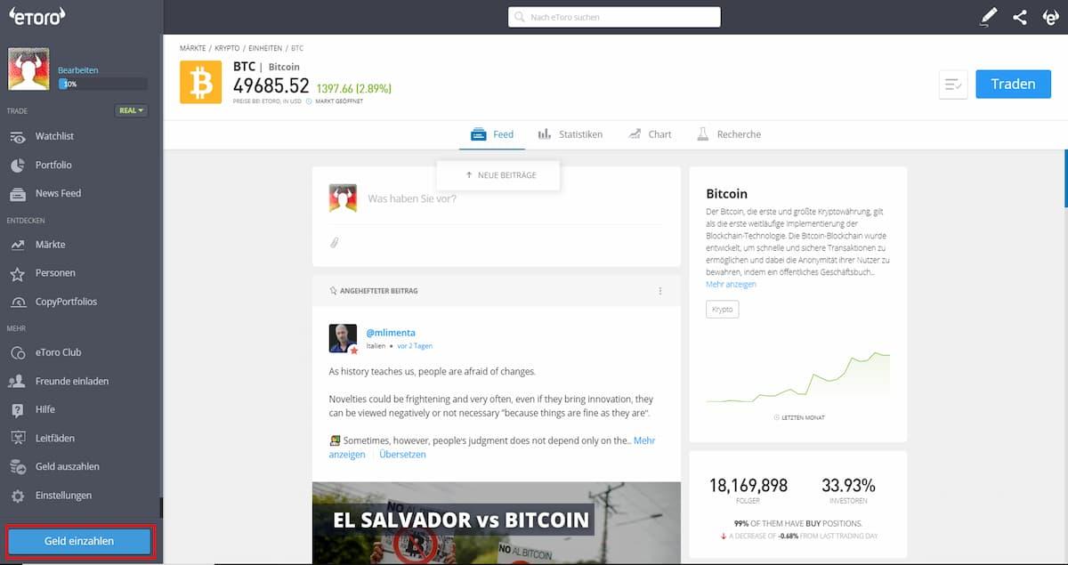 eToro Benutzeroberfläche, um Geld einzuzahlen